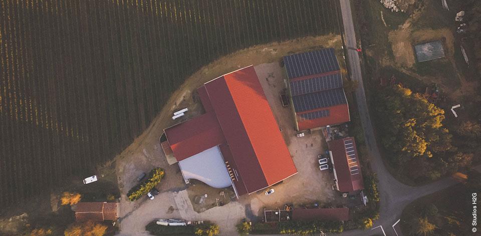 Vue aérienne domaine Carcenac - réalisation chantier Bulditec